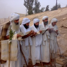 """<div style=""""text-align: center;"""">The new Tarmidi, Tarmida Anmar (on the right) and Tarmida Alaa (third from left), join other priests in their formal prayers as full practising Tarmidi. The priests hold part of the Drabsha (the religious banner) as part of Baii Rahmi. The priests will then perform Masbuta (baptism) for the Mandaeans.</div>"""